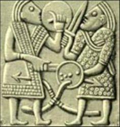 Bronze plate from Valsgärde helmet, Grave 1, Vendel, Uppland, dated 550-793 AD
