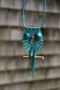 "Learn to make a macrame owl necklace:                                                                                                                    <button class=""Button Module borderless hasText vaseButton"" type=""button"">        <span class=""buttonText"">                          More         </span>          </button>"