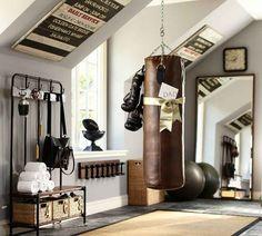 29 Trendy Home Gym Ideas Workout Rooms Interior Design Decor Home Gym Decor, Gym Room At Home, Dream Home Gym, Home Gym Design, House Design, Garage Design, Small Basement Design, Attic Design, Casa Loft