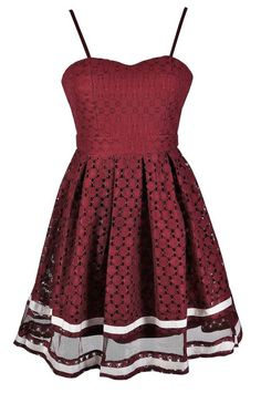 #Lily Boutique - #Lily Boutique Fine and Dandy Lace A-Line Dress in Burgundy/Ivory - AdoreWe.com