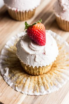 Brown Sugar Cupcakes with Roasted Strawberry Buttercream