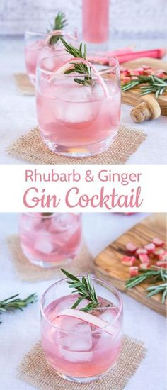 Two beautiful photos of a pretty pink rhubarb and ginger gin cocktail made with homemade rhubarb and ginger infused gin.