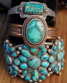 Southwestern  style turquoise bracelets by Greg Thorne.