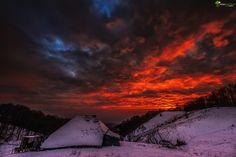 The sky is on fire by Cezar Machidon on Mount Everest, Fire, Sky, Celestial, Mountains, Sunset, Landscape, Nature, Travel