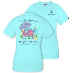 Simply Southern Preppy Salt Water Heals T-Shirt This pretty blue t-shirt will instantly transport you to a beach state of mind! - Front Design: Simply Southern logo with turtle design in Navy blue. -