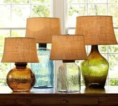 33 trendy Ideas for diy table lamp shade pottery barn Table Lamp Shades, Table Lamp Base, Lamp Bases, Table Lamps, Rattan Lampe, Mason Jar Lamp, Diy Table, Glass Table, Colored Glass