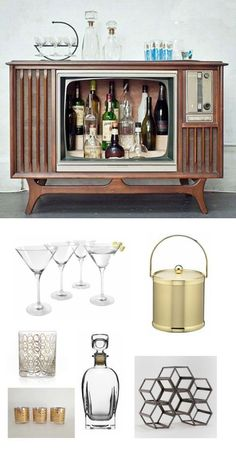 What better tongue-in-cheek throwback could there be than a retro TV home bar, complete with some old-fashioned martini glasses? The picture of the boozy fifties and sixties will be so strong, you won't even need to turn on Mad Men.