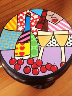 Painted Table Tops, Painted Stools, Painted Plates, Plates On Wall, Hand Painted Furniture, Paint Furniture, Coaster Crafts, Funky Chairs, Painted Rocks Craft