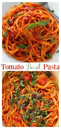 This One Pan Tomato Basil Pasta is so easy and flavorful! And because everything is made in a large stock pot, clean up is minimal. Serve garnished with Parmesan cheese and fresh basil leaves. One Pan Pasta, Pot Pasta, Pasta Dishes, Pasta Meals, Cooking Pasta, Pasta Sauces, Pasta Recipes For Two, Wheat Pasta Recipes, Pasta Recipes Using Fresh Tomatoes