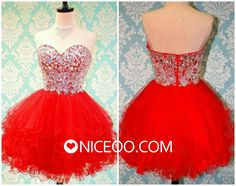 Cute Red A line princess Sweetheart short mini Tulle prom dresses with Beaded  #promdress #formaldress #eveningdress #prom #dress http://niceoo.com/products/16443831-cute-red-a-line-princess-sweetheart-short-mini-tulle-prom-dresses-with-beade