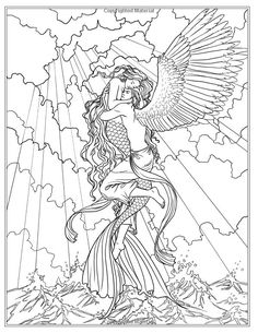 Fantasy Mermaid Coloring Pages Mermaid Coloring Book, Fairy Coloring Pages, Adult Coloring Pages, Coloring Books, Free Coloring, Fantasy Mermaid, Mermaid Art, Mermaid Crafts, Tattoo Mermaid