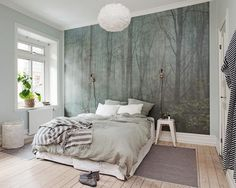 Posterbehang als imposant achterwand van je bed, kies je afbeelding online op onze shutterstock database en wij drukken het op makkelijk te plakken vliesbehang! www.schoonewoonwensen.nl