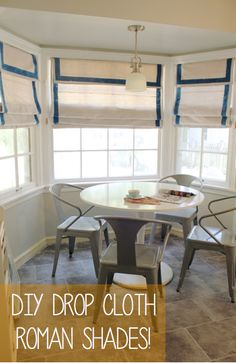 Shabby Charme Bluet & Clover: Making Drop Cloth Roman Shades What is a Stair lift? Farmhouse Curtains, Rustic Curtains, Kitchen Curtains, Farmhouse Windows, Farmhouse Trim, Vintage Curtains, Farmhouse Plans, Long Curtains, Diy Curtains