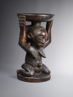 """Kingdom """"Luba"""" stool from Congo (rdc) field collected by Vandebogaerde early XXe 