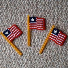 Plastic Canvas American Flag Magnets set of 3 by ReadySetSewbyEvie, $4.50 . . .This item is back in stock at my Etsy shop! :)