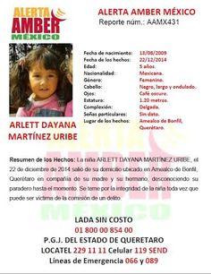 Activación de la alerta amber de Arlett Dayana Martínez Uribe (QUERETARO)