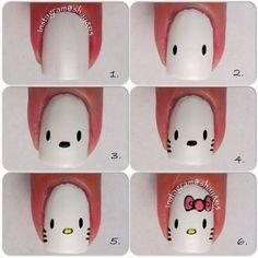 Nails, Nail Art, Nail Design, Tutorial, How To, Manicure, Sanrio, Hello Kitty, Bow, Pink, White, Black, Yellow