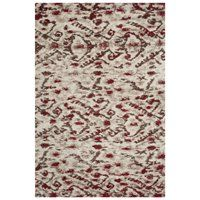 TBS545C Tibetan Shag Ivory and Red Area Rug