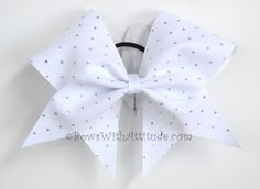 """3"""" Wide Luxury Cheer Bow - White w/Silver Sparkles by BowsWithAttitude on Etsy https://www.etsy.com/listing/112978183/3-wide-luxury-cheer-bow-white-wsilver"""