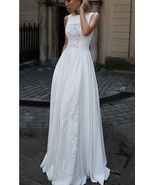 2018 white long prom dress sleeveless lace a-line evening dress,HH059 - $179.00  #promdresses #fashion #shopping #dresses #eveningdresses