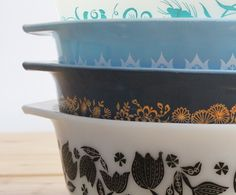 Vintage Pyrex Bowls ~ I still use one that was my grandmother's. My yellow mixing bowl is indestructible!