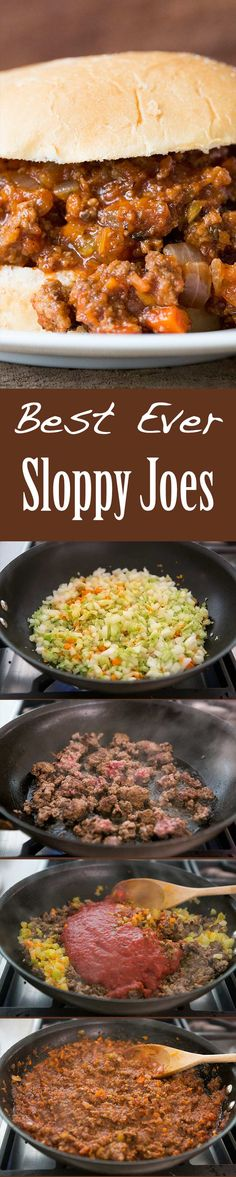 A kid-friendly classic! Sloppy Joes with browned ground beef, onions, garlic, carrots, celery, cooked in sweet sour tomato sauce, served over hamburger buns. On SimplyRecipes.com