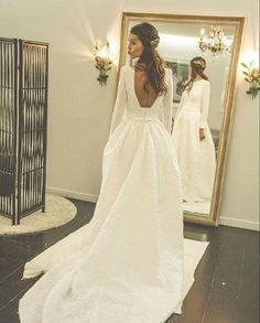 Romantic Wedding Dresses, Satin Wedding Dress, Court Train Bridal Wedding Dress, Simple Wedding Gown, Wedding Dress 2018 MT20185709