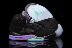 separation shoes 414f7 7bead Air Jordan Retro 5 A Black Purple Green Women s shoes Baskets Nike, New
