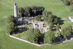 Aerial view of the round tower, churches and high crosses at Monasterboice, Drogheda, Co. Louth. Photograph courtesy of the DAHG.