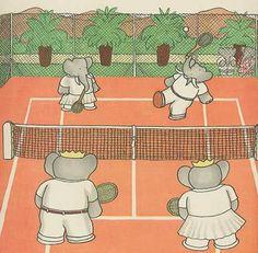 Babar Tennis Match, 1930s antique print