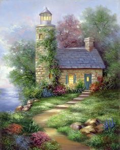 Royal & Langnickel Paint Your Own Masterpiece Painting Set, Romantic Lighthouse Thomas Kinkade Art, Kinkade Paintings, Art Thomas, Haus Am See, Lighthouse Painting, Fantasy Landscape, Beautiful Paintings, Belle Photo, Landscape Paintings