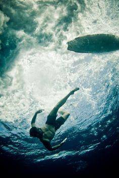 below a wave
