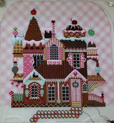 gingerbread house needlepoint shelly tribbey