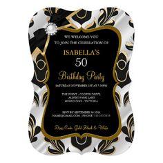 Elite White Pearl Gold Black Damask Party Invite