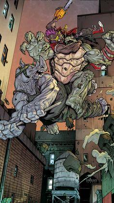 Bebop and Rocksteady vs Slash Ninga Turtles, Ninja Turtles Art, Teenage Mutant Ninja Turtles, Tmnt Comics, Dc Comics, Bebop And Rocksteady, Ghost Busters, Samurai Art, 90s Cartoons