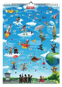design Calendar - game by Aleksandr Pushai on ArtStation. Calendar Design, Safety Games, Unity 3d, Game Concept, Diy Games, City Maps, Little Monsters, Activity Games, Board Games