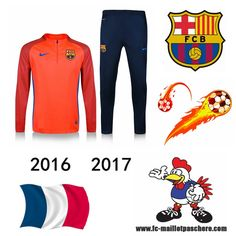 Vente Survetement Foot FC Barcelone Orange seson 16 17 Replica - Home