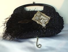 Hey, I found this really awesome Etsy listing at https://www.etsy.com/listing/75709923/black-evening-bag-raffia-cocktail-clutch