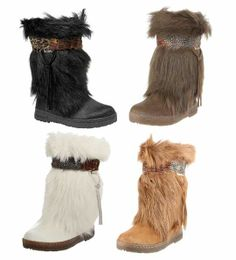 Women's Winter Mid-Calf Fur Flat Boots, Mukluk, Eskimo, Brown 6 ...