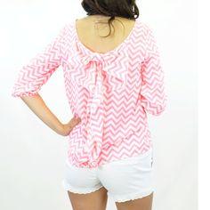 Summer Crush Neon Pink Chevron Bow Shirt... love!