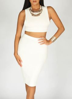 Ribbed Knit Off White Set