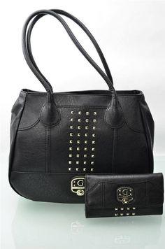 5696eee2ff GUESS Purse Wallet Set Bags Large Black Stud Trim Hobo Handbag Clutch 2 PC