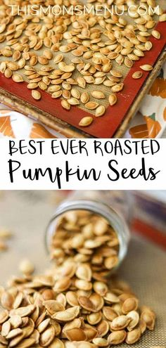 The BEST EVER Roasted Pumpkin Seeds - This Mom's Menu Best ever roasted pumpkin seeds! A simple trick delivers the crunchiest pumpkin seeds you've ever had! They are a great and healthy snack that the whole family is sure to love. Oven Roasted Pumpkin Seeds, Flavored Pumpkin Seeds, Savory Pumpkin Seeds, Perfect Pumpkin Seeds, Homemade Pumpkin Seeds, Organic Pumpkin Seeds, Toasted Pumpkin Seeds, Roast Pumpkin, Baked Pumpkin