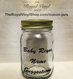 Baby Name Suggestions Jar - Customize / Personalize Your Own Glass Jar! Baby Shower Parties, Baby Boy Shower, Custom Mason Jars, Name Suggestions, Glass Jars, Baby Names, Party Favors, Etsy Seller, Handmade Gifts