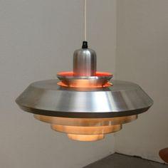 1960s Danish Modern UFO Hanging Lamp Fixture Mid Century Vintage