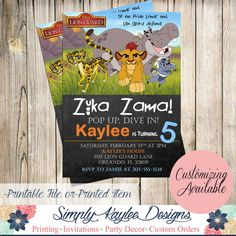 Lion Guard Birthday Invitations by SimplyKayleeDesigns on Etsy