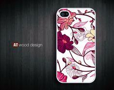 iphone 4 case iphone 4s case iphone 4 cover classic illustrator red purple  flower graphic design printing. $13.99, via Etsy.