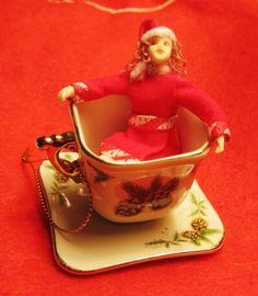 Ooak Christmas Tea Cup Fairy, by Little Stuff