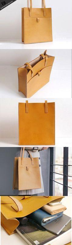 Handmade Leather handbag shoulder tote bag yellow red brown for women leather shopper bag #handmadebag