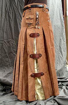 steampunk skirt/utility female or unixe garb (modified utili-kilt pattern). Viktorianischer Steampunk, Steampunk Skirt, Steampunk Cosplay, Steampunk Clothing, Steampunk Fashion, Victorian Fashion, Gothic Clothing, Gothic Fashion, Kilt Pattern